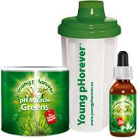 Young pHorever Alapcsomag: Greens 220 g + PuripHy 60 ml + Shaker